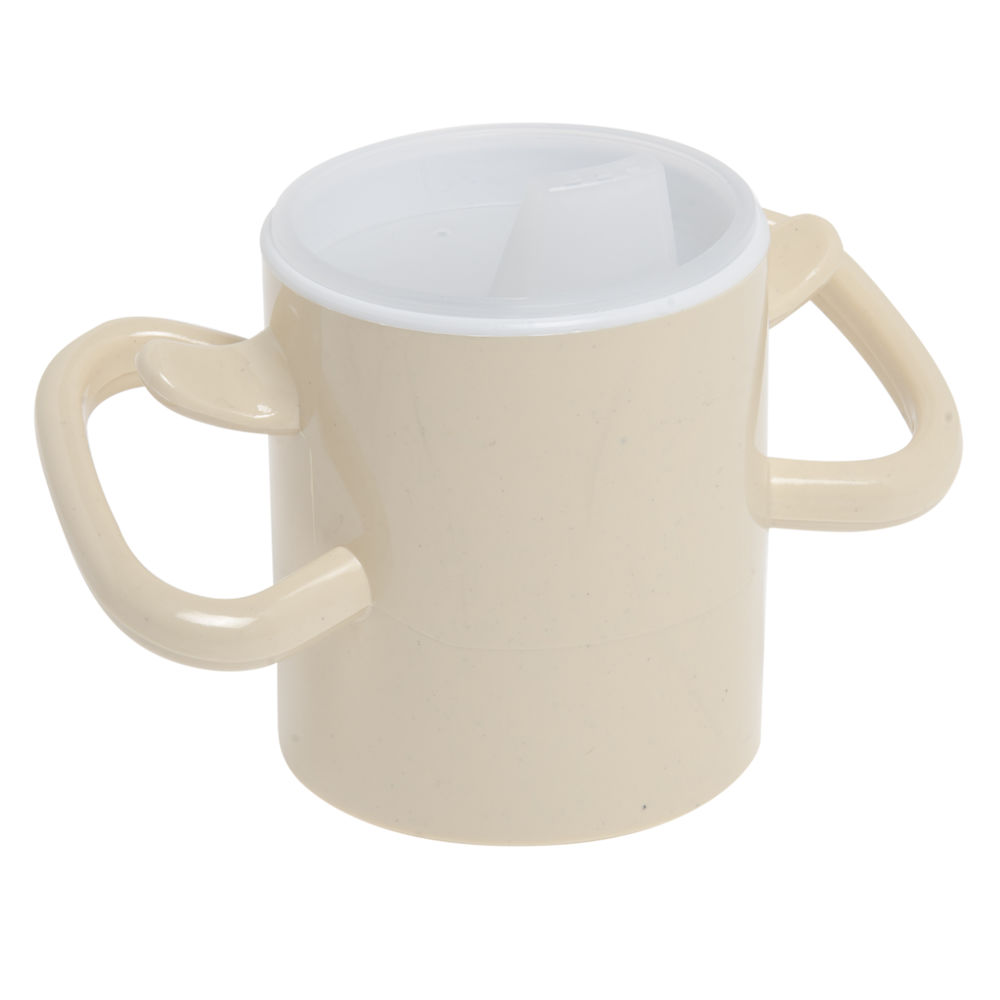 Maddak Ableware 8 Oz Cream Polycarbonate Thumbs Up Cup With Lid