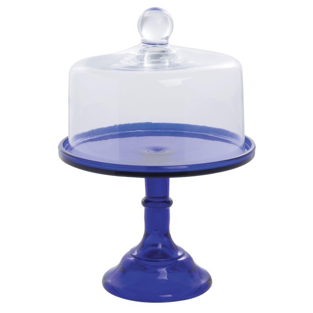 CAKE STAND, GLASS, 9DIAX7, COBALT BLUE