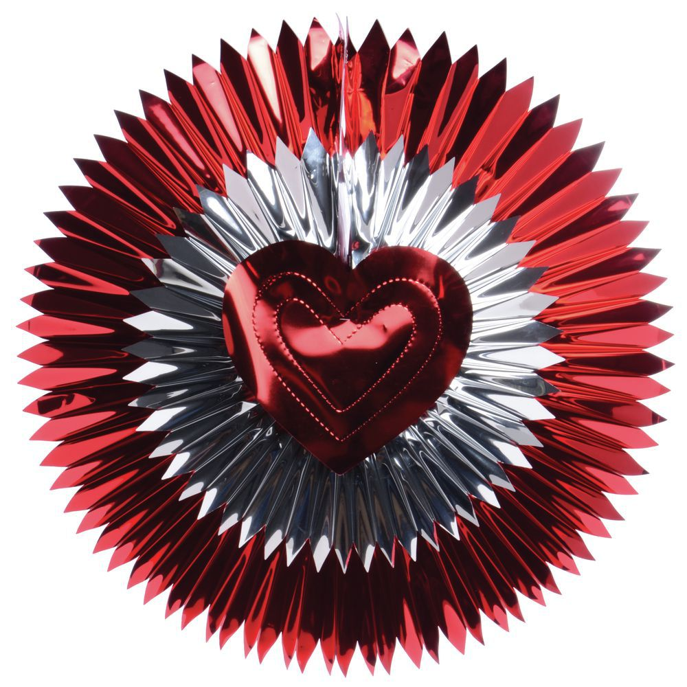 """Decoration Fan Heart Metallic Red/Silver 24""""Dia Foil"""