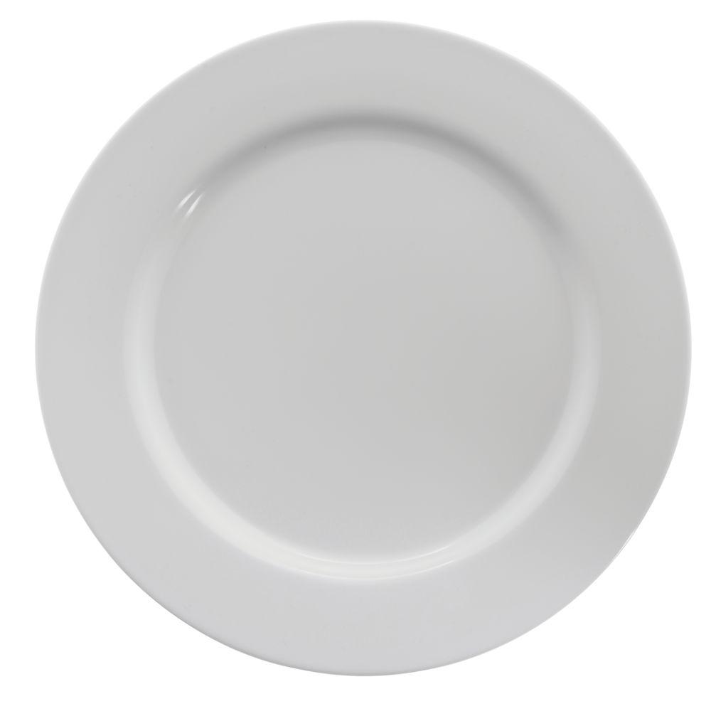 """Hubert® Wide Rim Melamine Dinner Plate 10 1/2"""" White"""