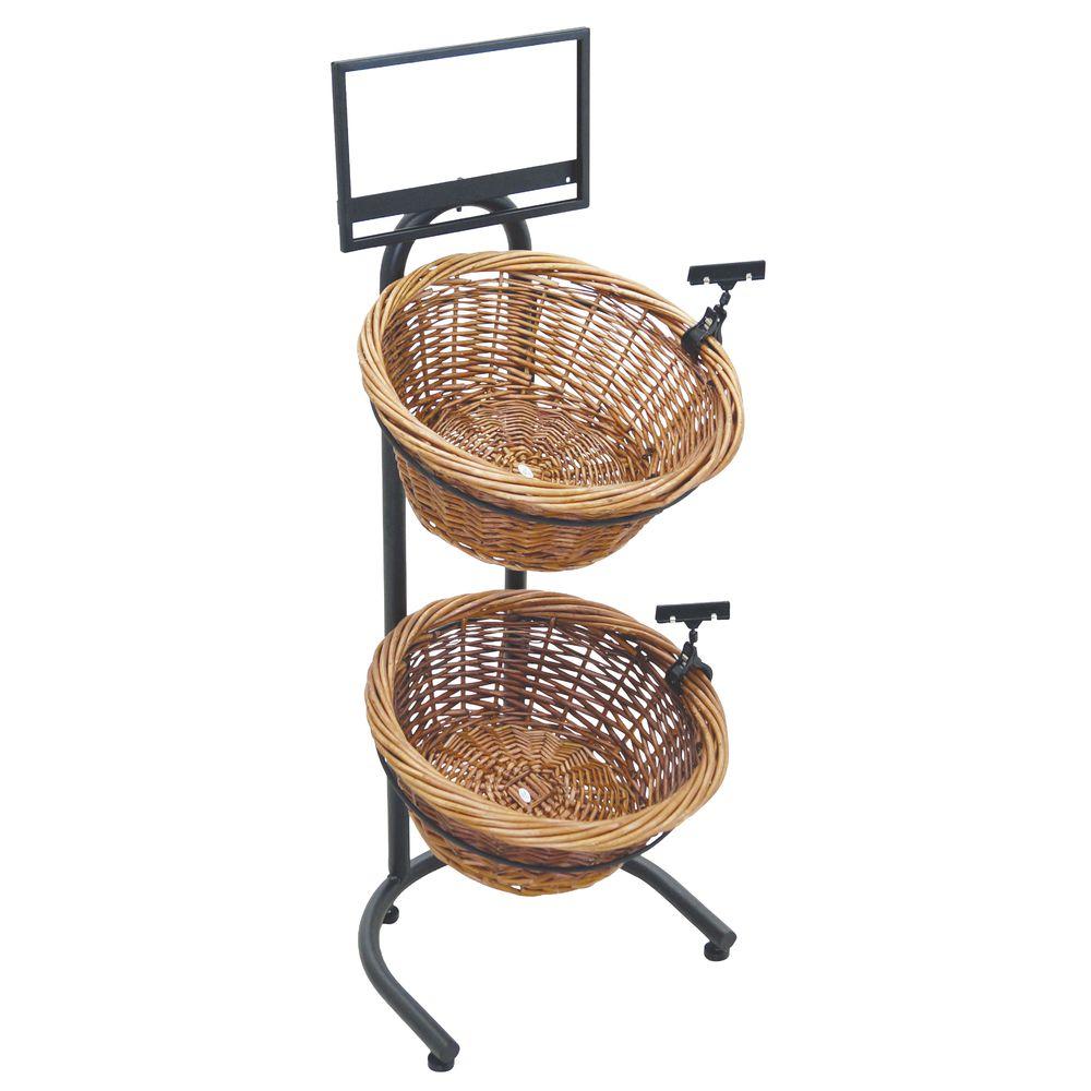 Black Metal Countertop 2-Tier Basket Stand With 2 Brown Wicker Baskets