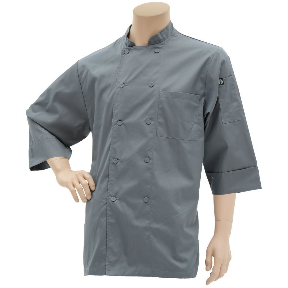 COAT, CHEF, BASIC, 3/4 SLV, S, GREY
