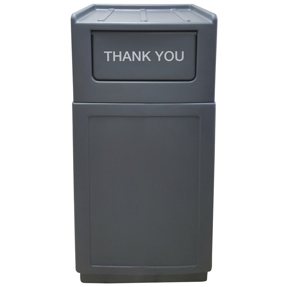 HUBERT�?�® 39 gal Grey Plastic Trash Receptacle With Tray Top Lid