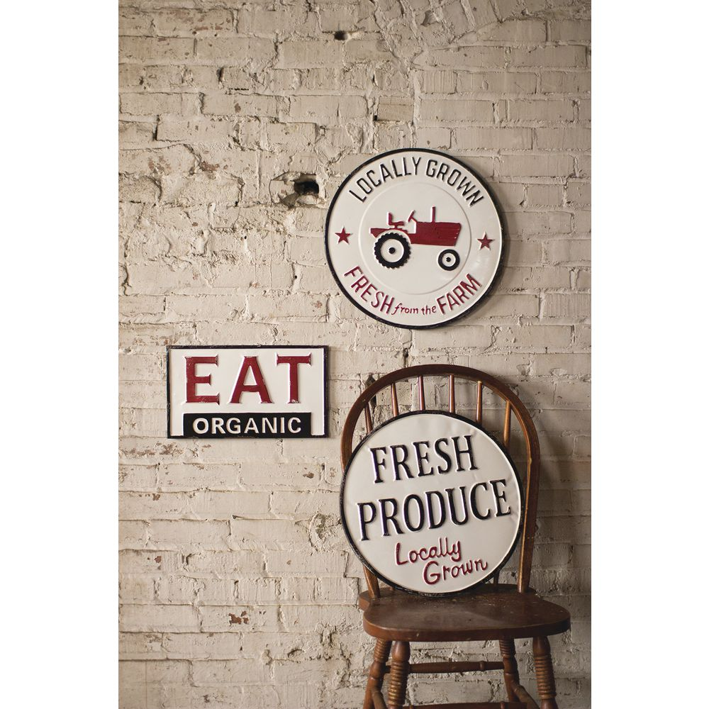 SIGN, EAT ORGANIC, RECT, TIN, 16 X 9-1/2