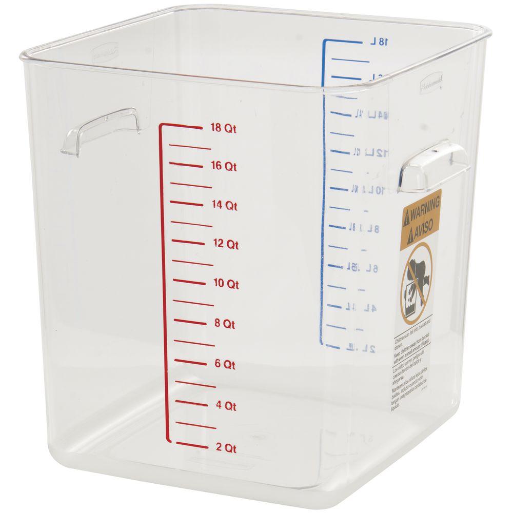 Rubbermaid 18 qt Clear Plastic Square Storage Container - 10 1 2L x ... 910a95be9e57f