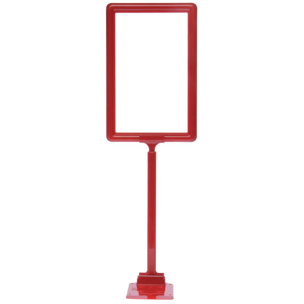 Red Plastic Adjustable Sign Holder With Square Dump Base - 11\