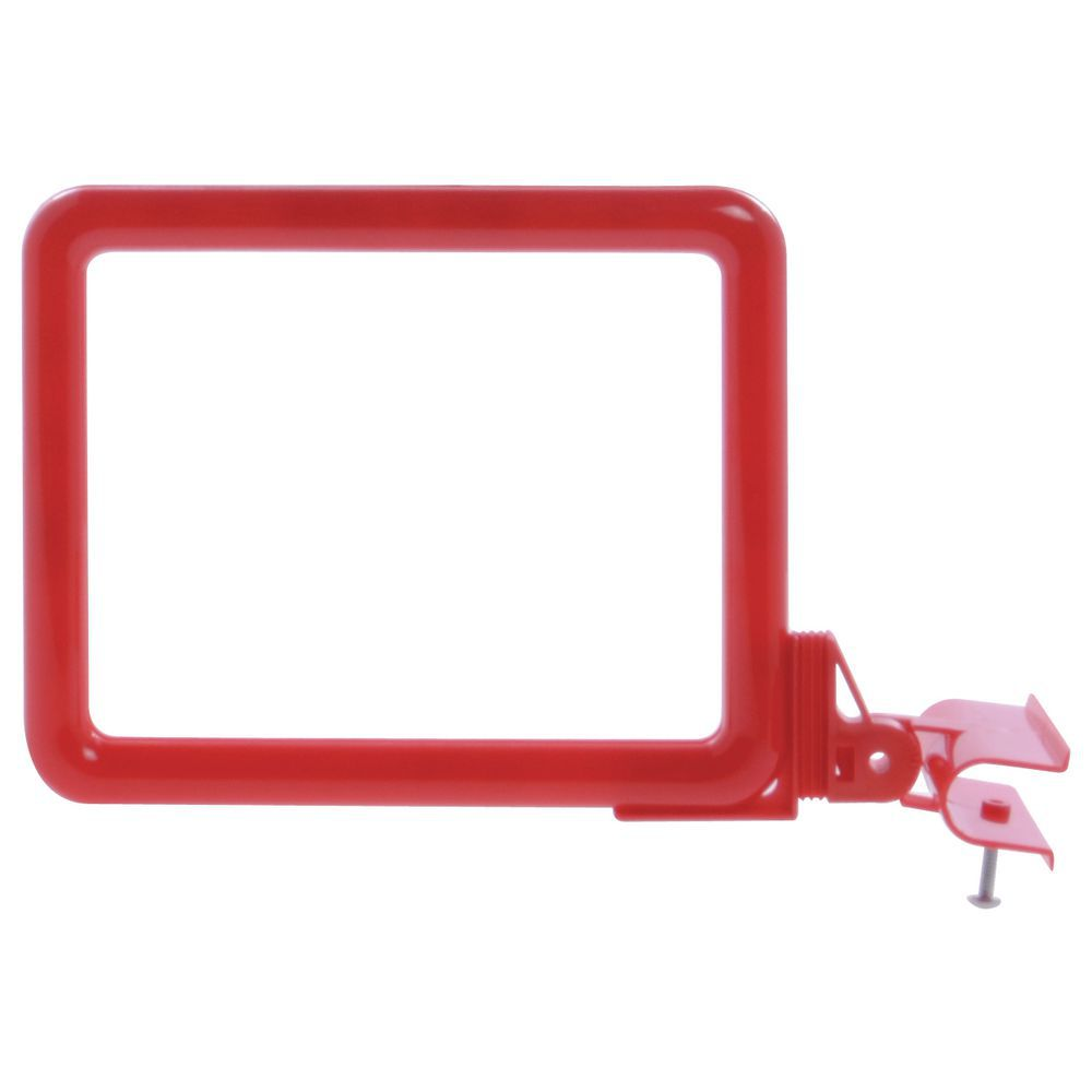 "Side View Clamp Sign Holder For 5 1/2""L  x 7""W Red Plastic"