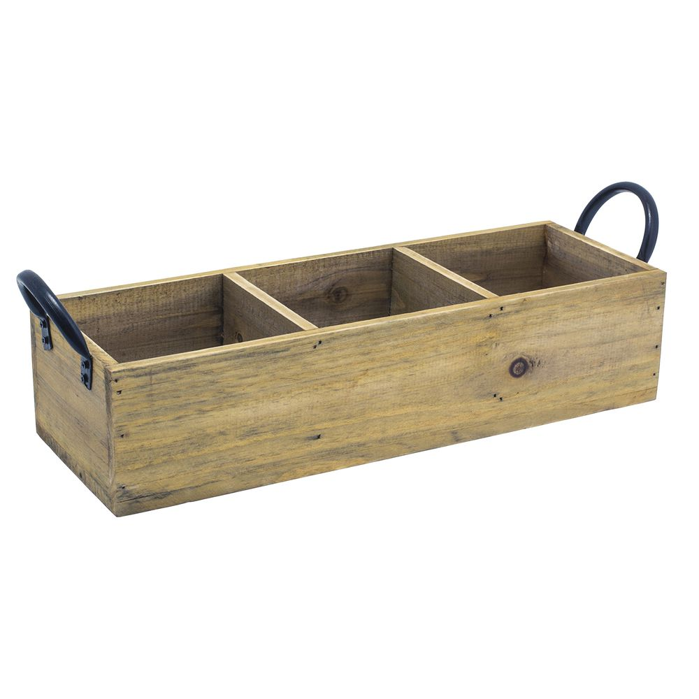 Foh 174 Rustic Wood Rectangular Tray With Metal Handles 13