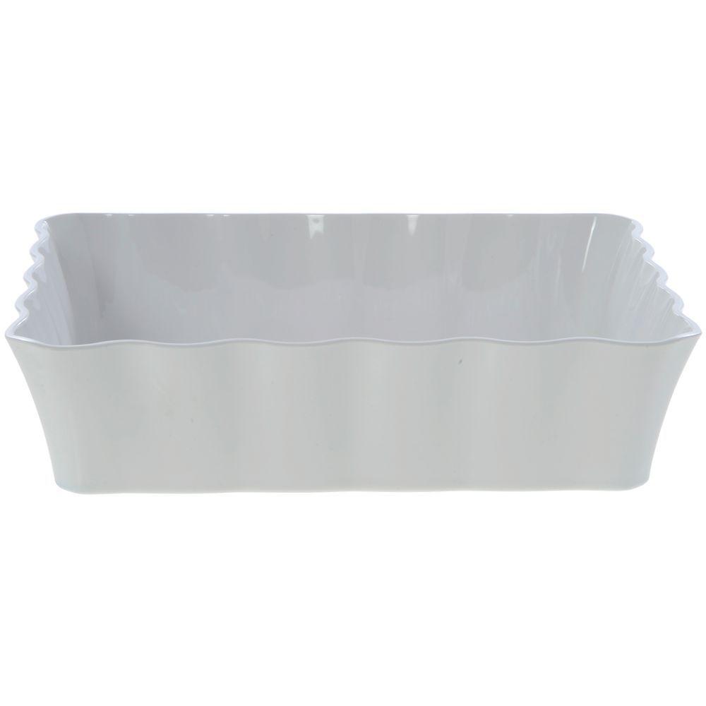 """Colored Deli Crocks / Serving Bowl in White Melamine 10lb Capacity 12 1/4""""L x 10 1/4""""W x 3""""H"""
