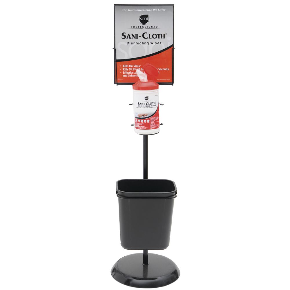 Floorstand With Sign Holder For Sani-Cloth And Sani-HandsWipes