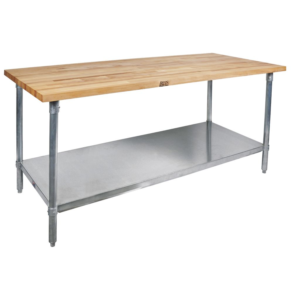 Superb John Boos Stainless Steel Maple Top Work Table With Shelf 72L X 30W X 36H Ibusinesslaw Wood Chair Design Ideas Ibusinesslaworg