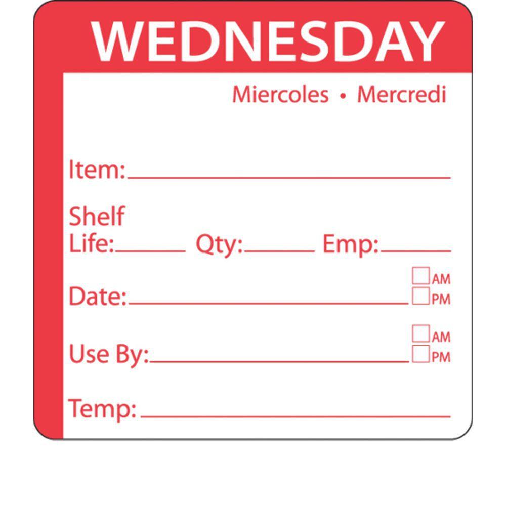 red white dissolvable shelf life rotation labels tri lingual