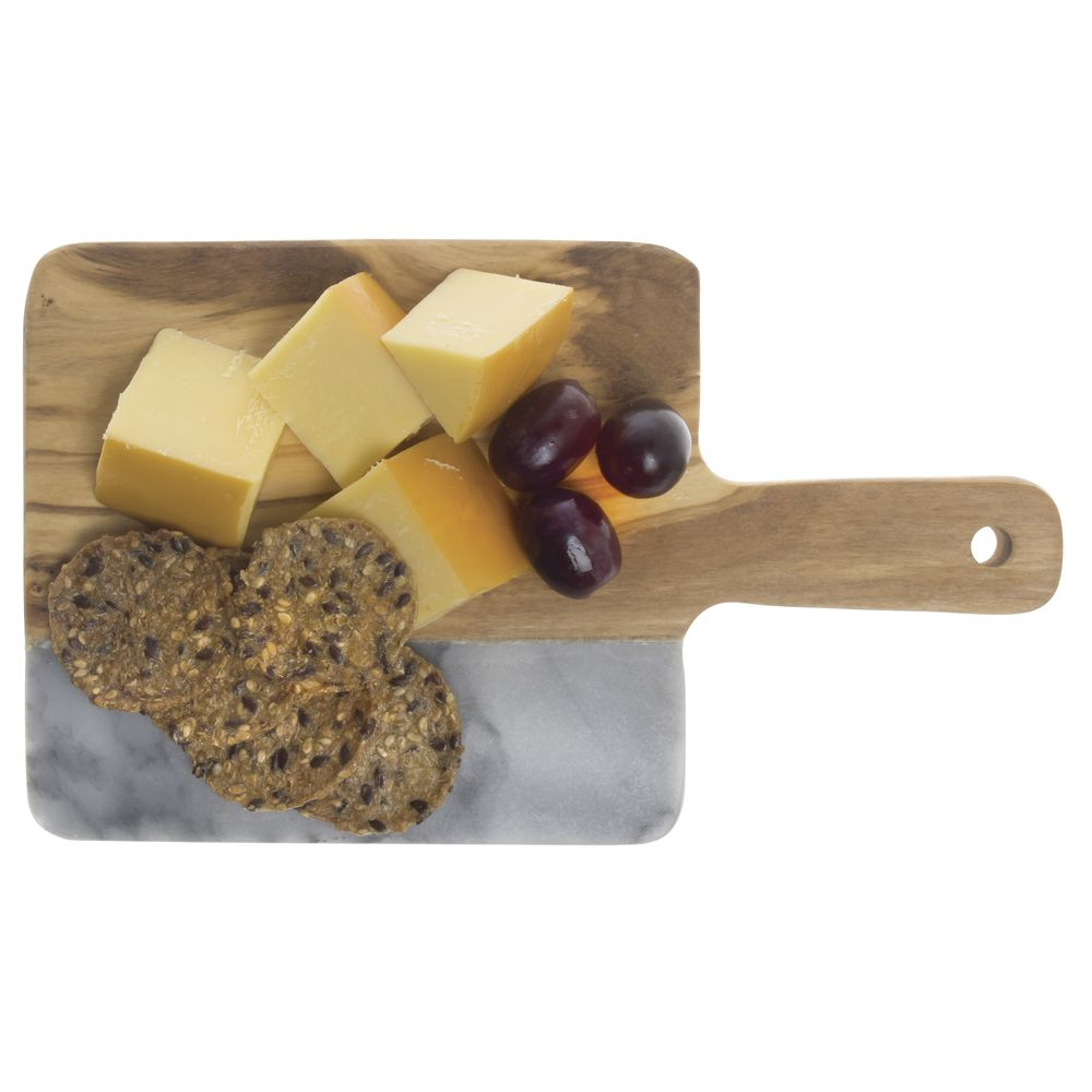 "BOARD, SERVING, GREY MARBLE+WOOD, 9""L"