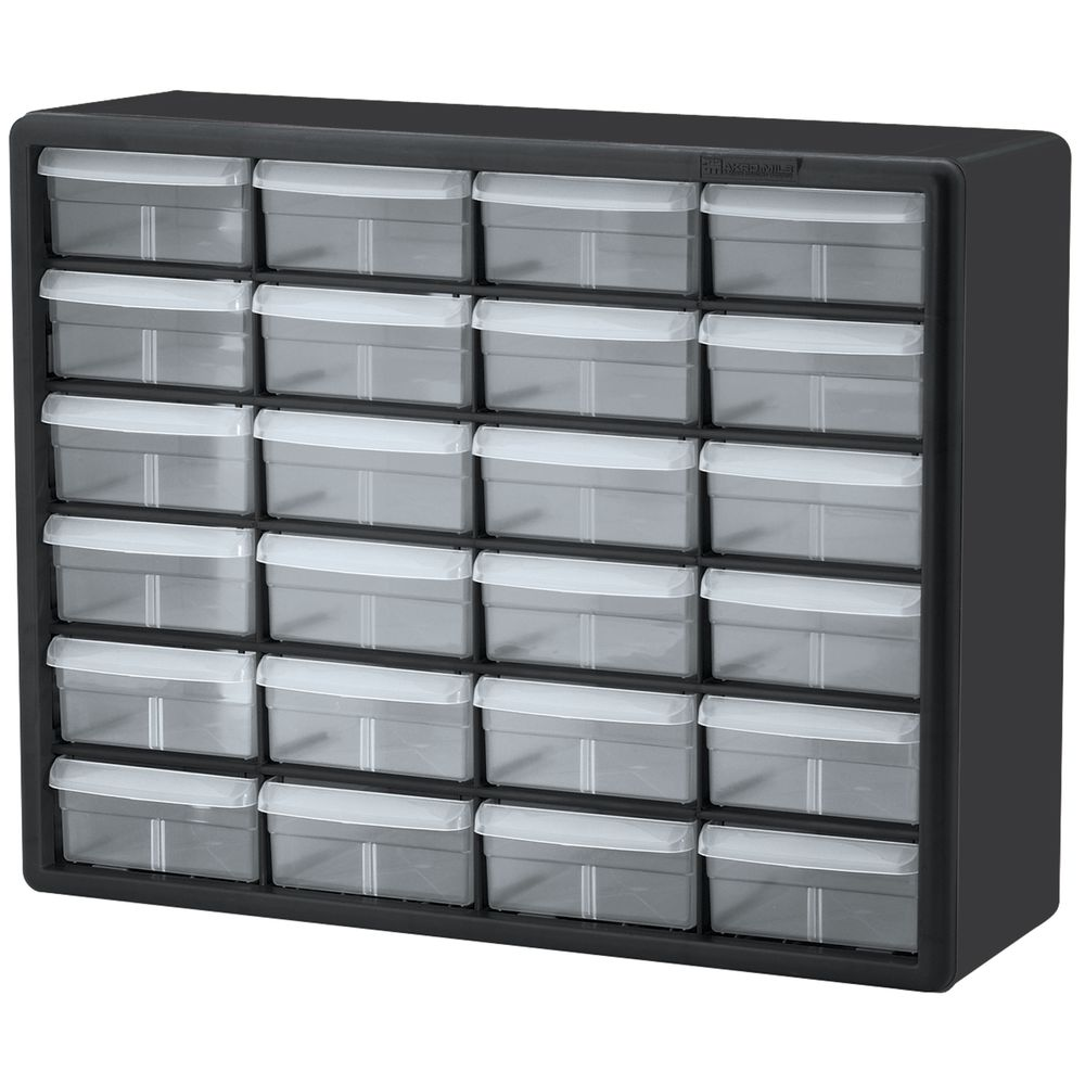 CABINET STORAGE 24 DRAWERS  sc 1 st  Hubert.com & Akro Mils Black Plastic 24 Drawer Parts Storage Cabinet - 20