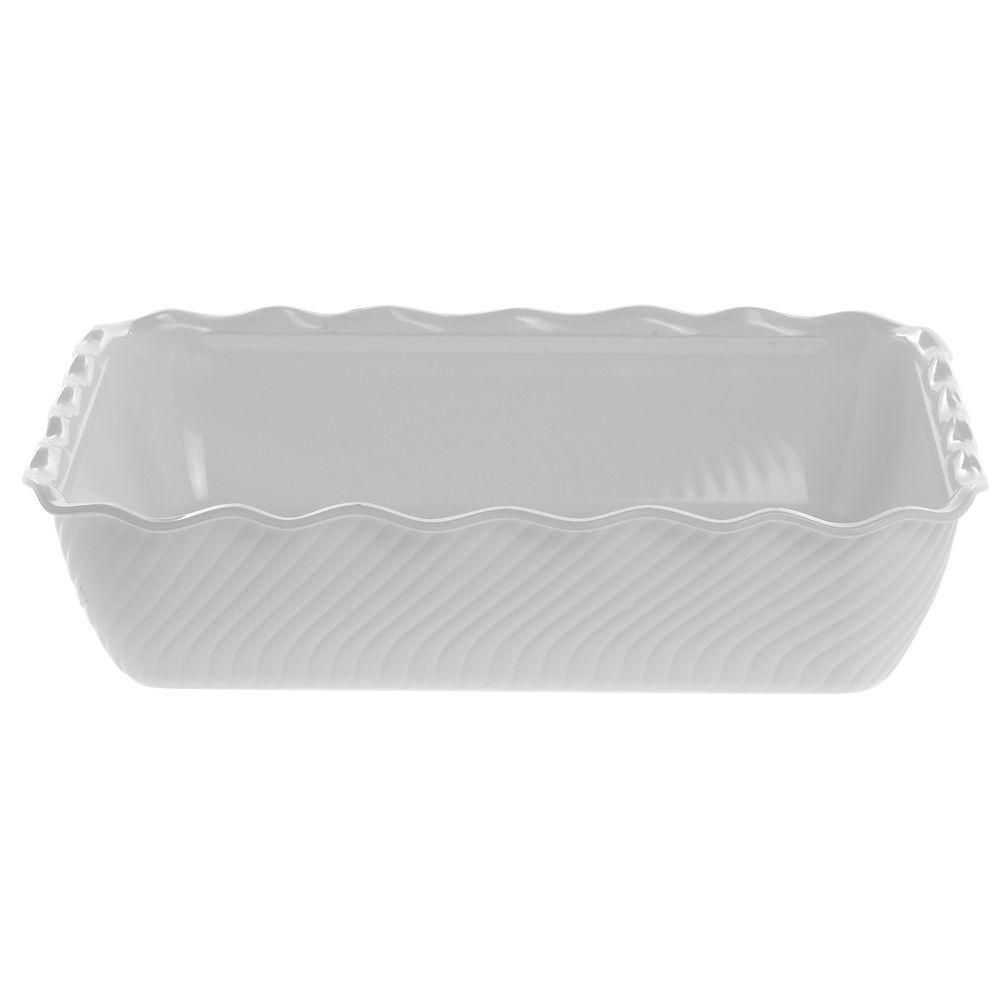 "Carlisle Swirl Displayware White Crock in Plastic 10lb Capacity 13""L x 10""W x 3 1/4""H"