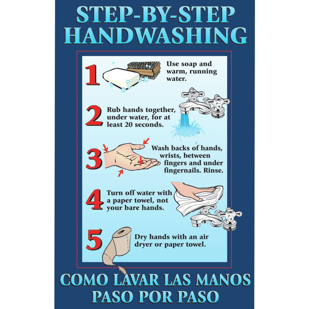 Laminated Handwashing Steps Safety Poster