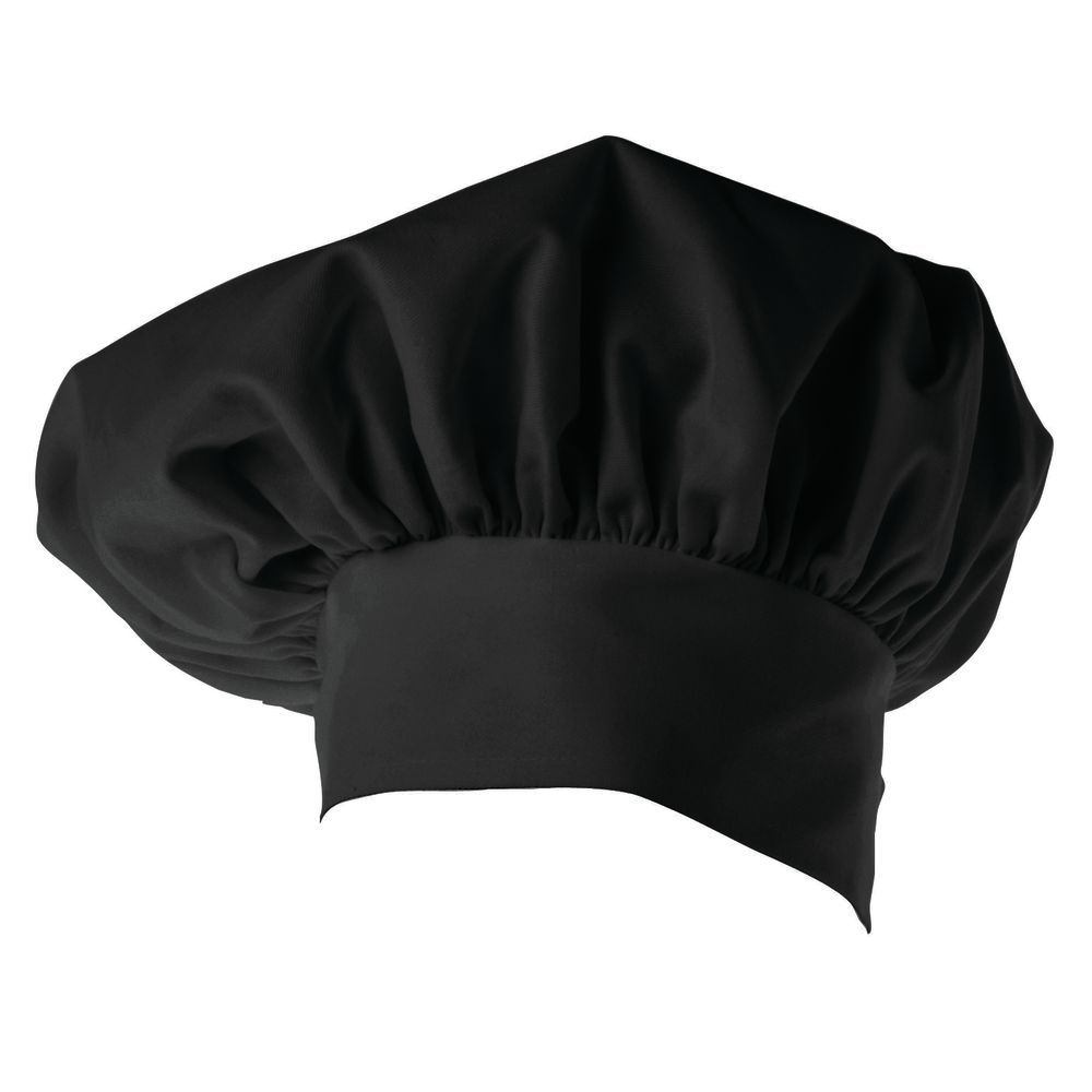 HAT, CHEF, TOQUE, TWILL, BLACK