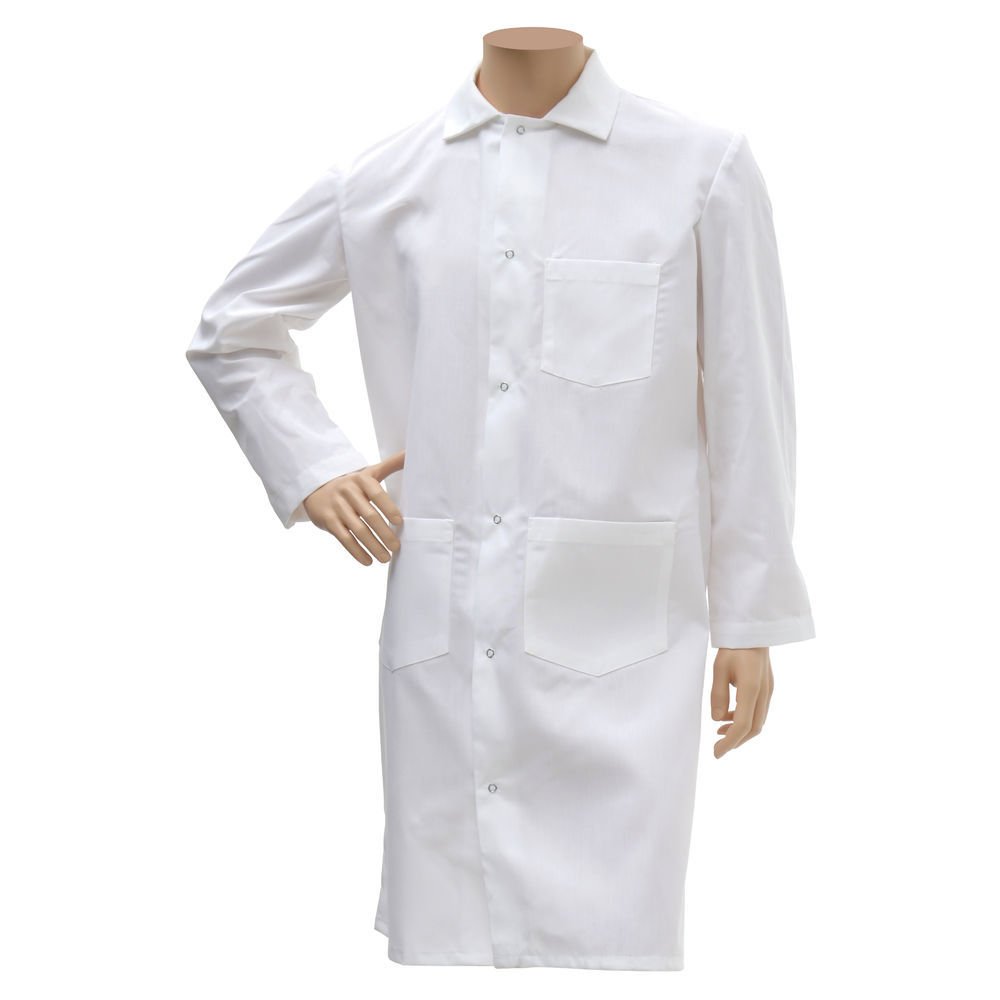 FROCK, BUTCHER, LONG, WHITE, LARGE