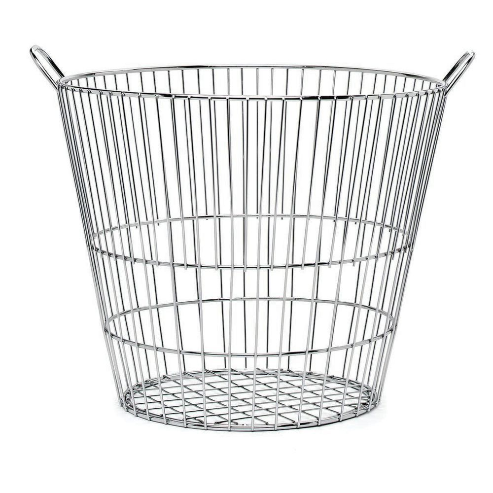 HUBERT Round Chrome Wire Basket - 18Dia x 16H