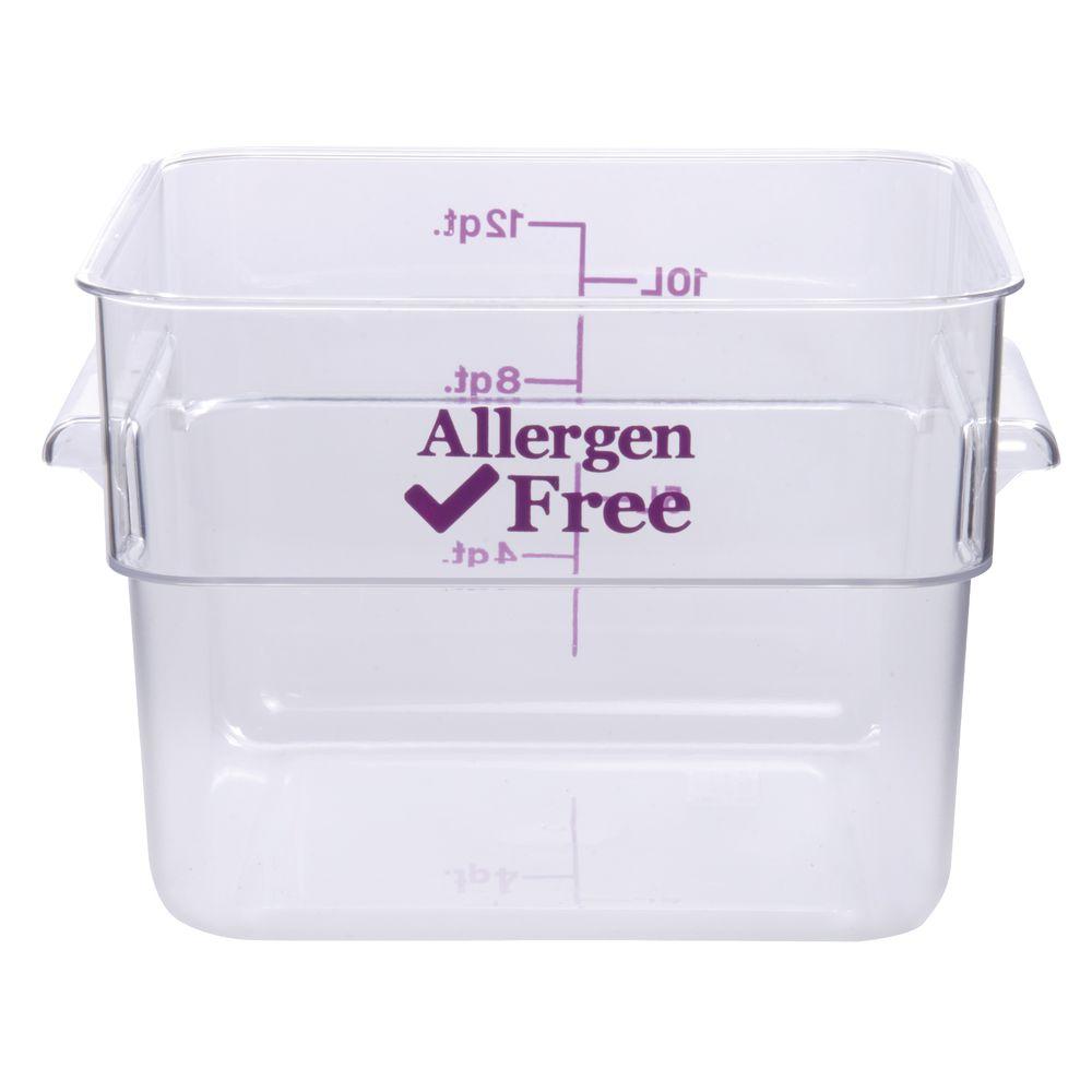 Cambro 12 qt Clear Plastic Allergen Safe Food Storage Box 11 14L