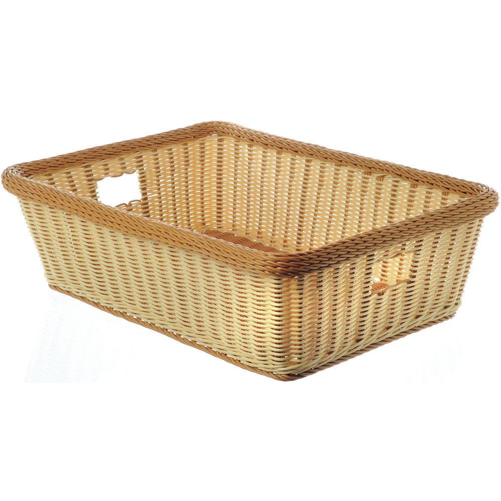G E T Rectangular Tu Toned Natural Honey Polypropylene Washable Basket With Handles 23 L X 17 W X 7 D