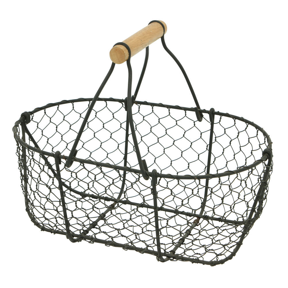 Expressly HUBERT Oval Rustic Brown Chicken Wire Basket - 12L x 8W x 10H