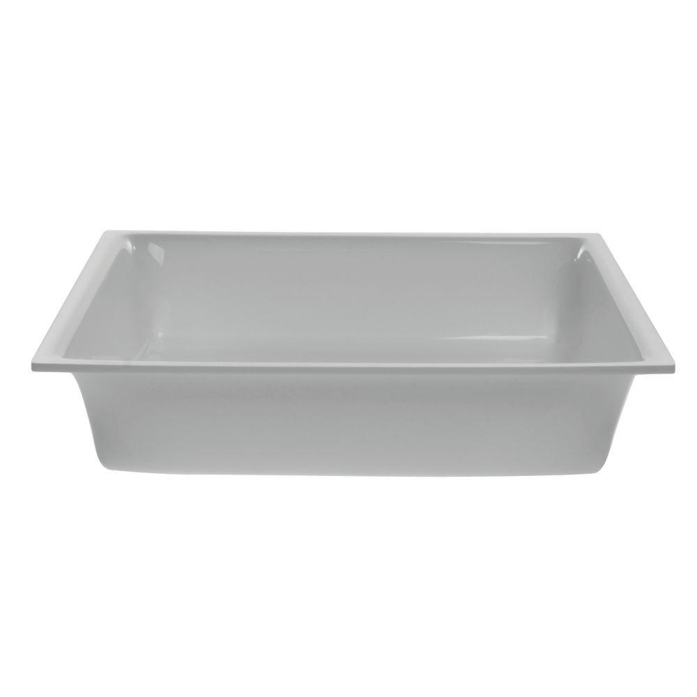 "Delfin White Square Acrylic Display Bowl 11 1/2""L  x 2 1/2""H"