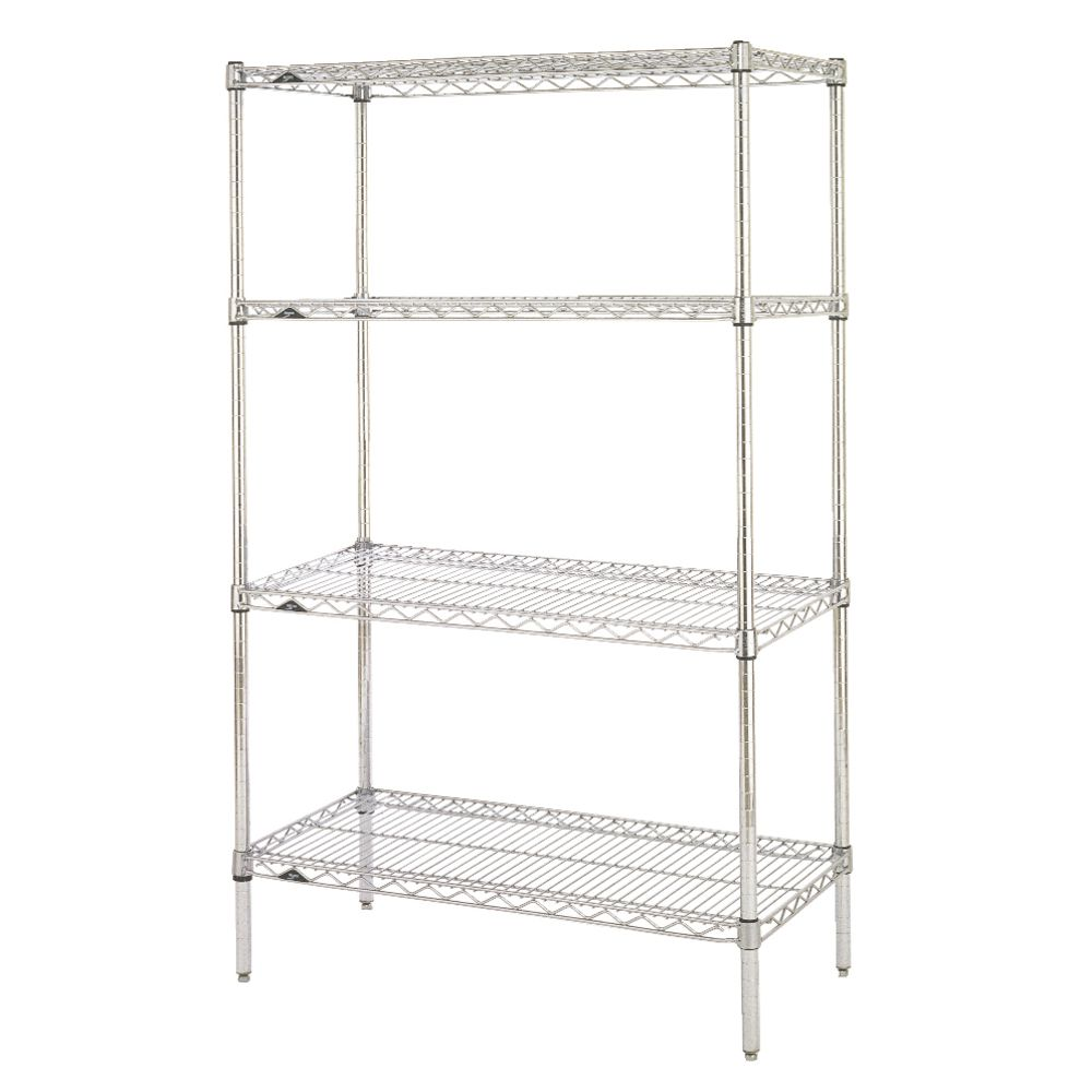 "Metro Super Erecta 4 Shelf Metal Shelving Unit 36""L  x 18""W x 63""H Chrome Plated"