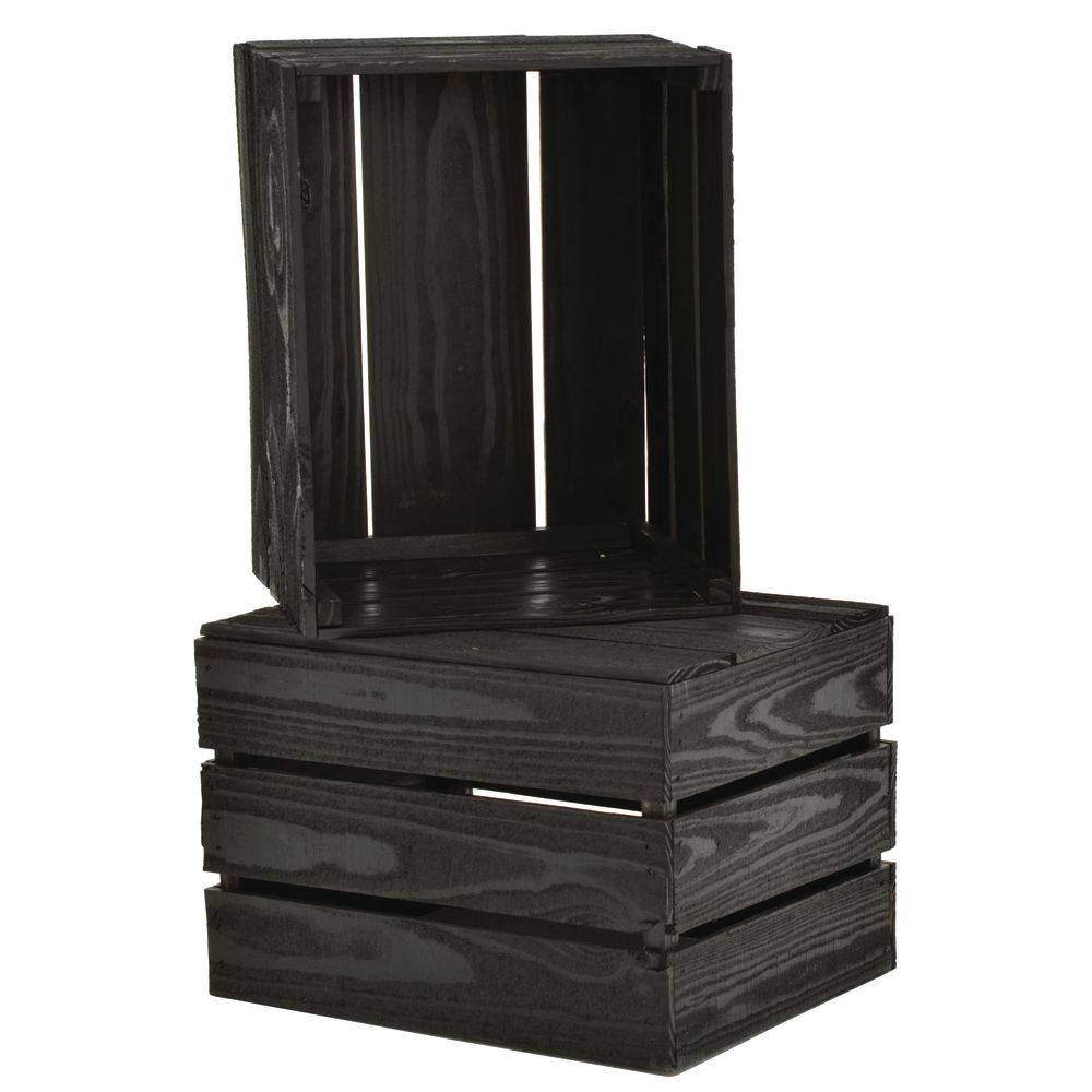 CRATE, STACKING, BLACK SOLID PINE, 17.5X14X