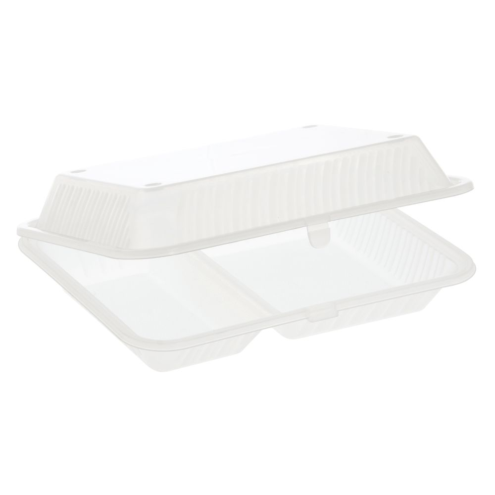 """G.E.T. Clamshell Eco-Take Out Container Clear 2-Compartment Polypropylene 10""""L x 8""""W x 3""""H"""