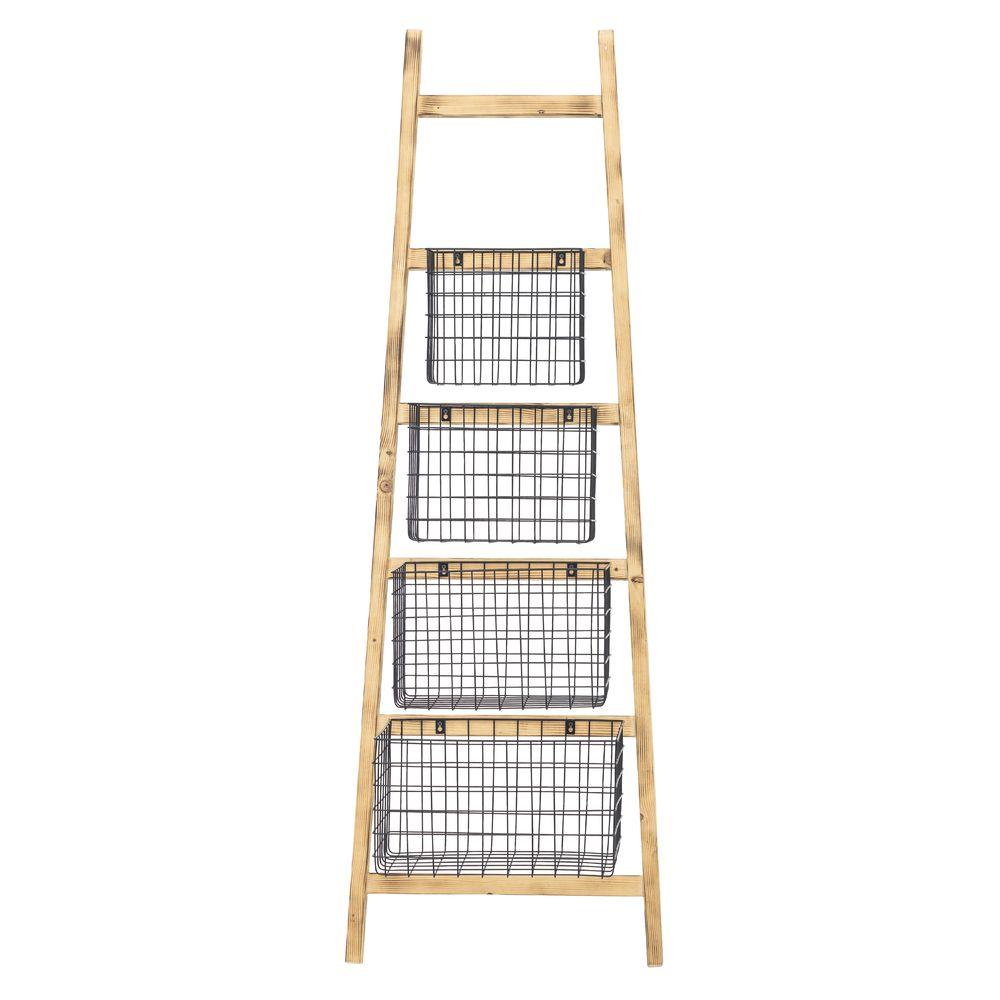Expressly HUBERT Slanted Wooden Ladder - 23 1/2L x 15 3/4W x 70 3/4H