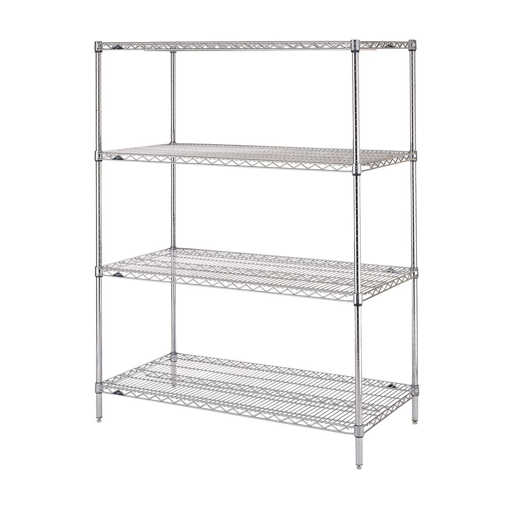 "Metro Super Erecta 4 Shelf Metal Shelving Unit 48""L  x 18""W x 63""H Chrome Plated"
