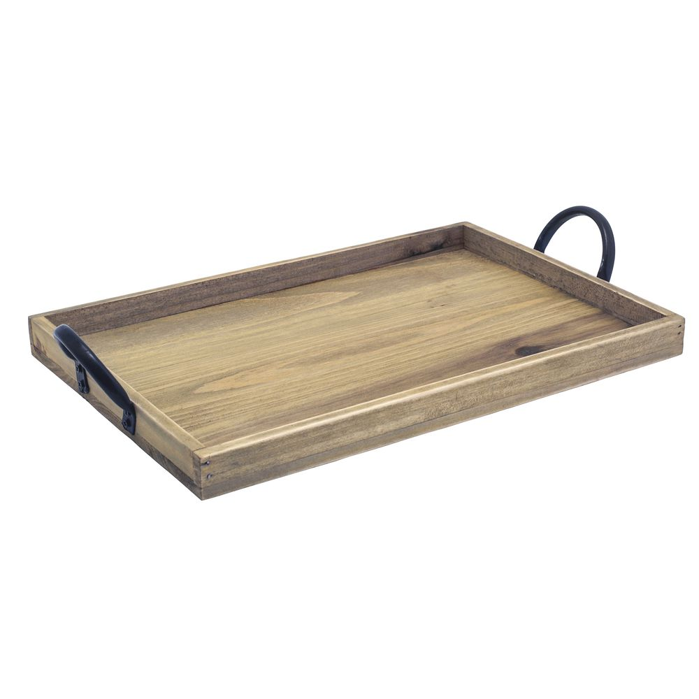 6c60d3f4ec FOH® Rustic Wood™ Rectangular Tray with Metal Handles - 13