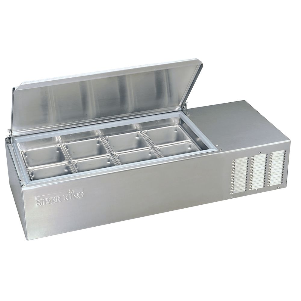 Silver King 8 Pan Refrigerated Countertop Food Prep Station Table Top Sandwich Shop