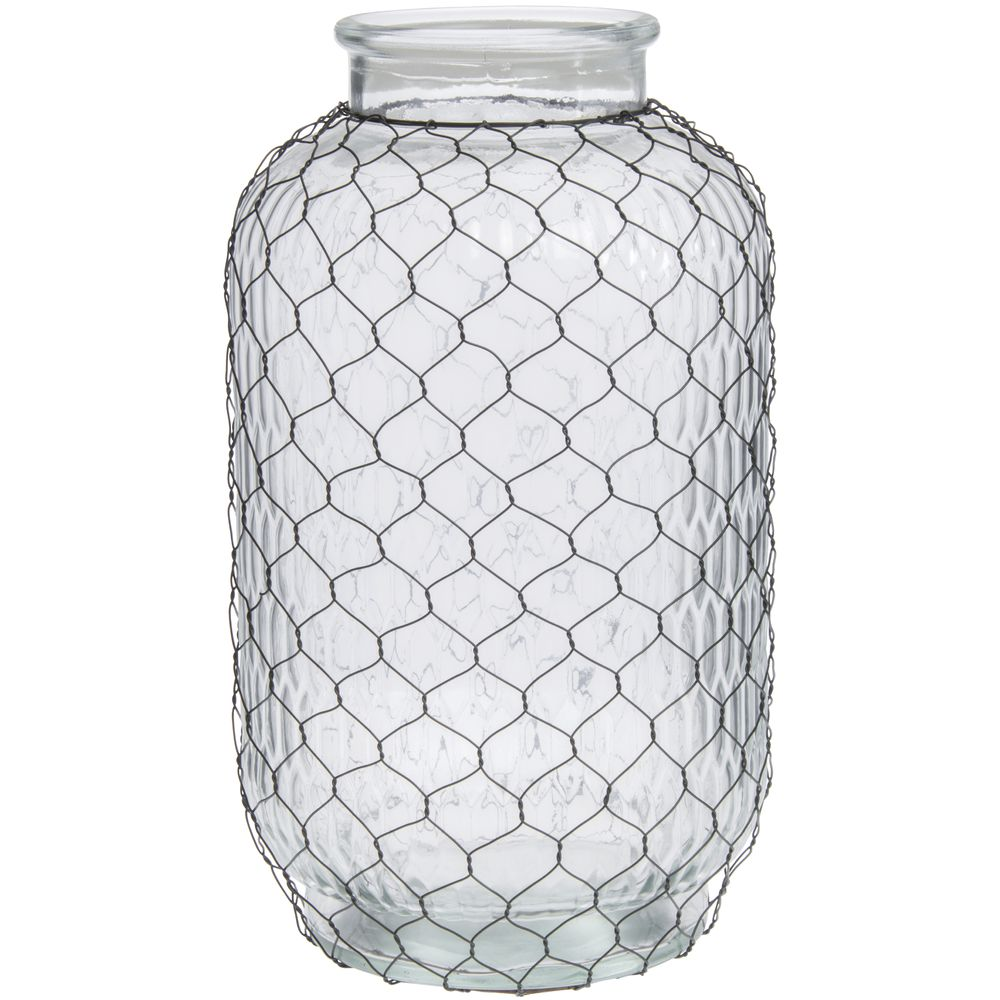 Small-Mouth Glass Chicken Wire Vase - 8 1/2Dia x 16H