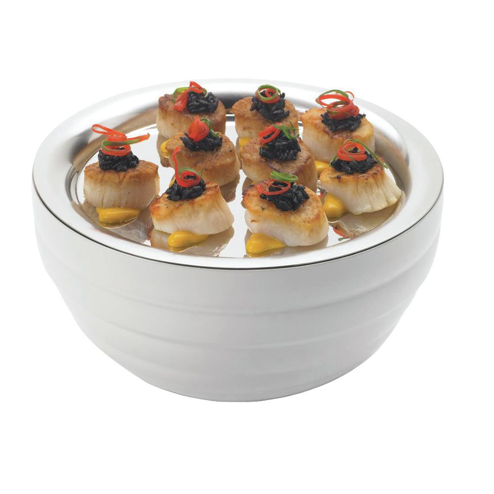 "Vollrath Double Wall Serving Bowls 9 1/2""Dia x 5""H Painted Stainless Steel Pearl White"
