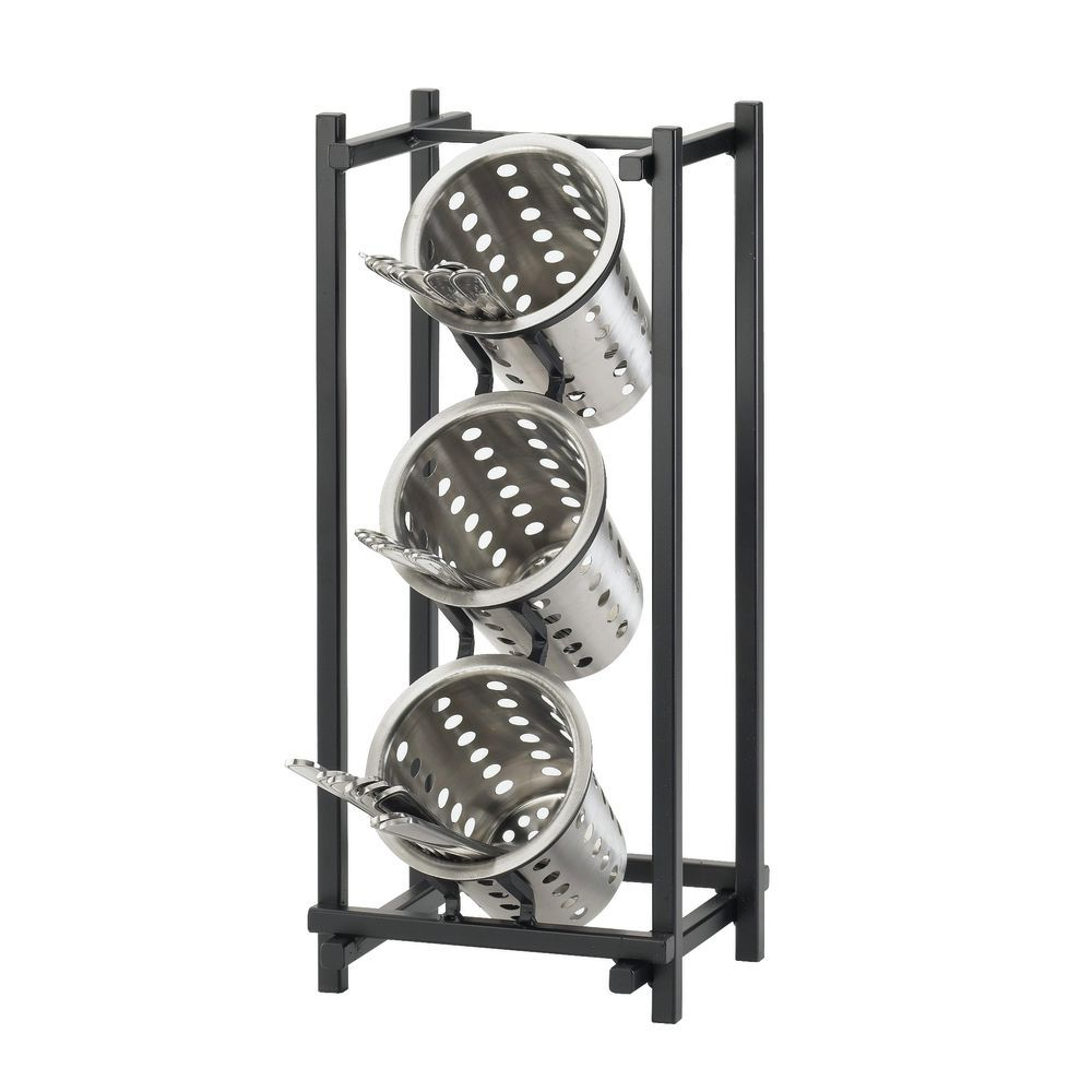 HOLDER, FLATWARE/COND, CYLNDR 3TIER, BLACK