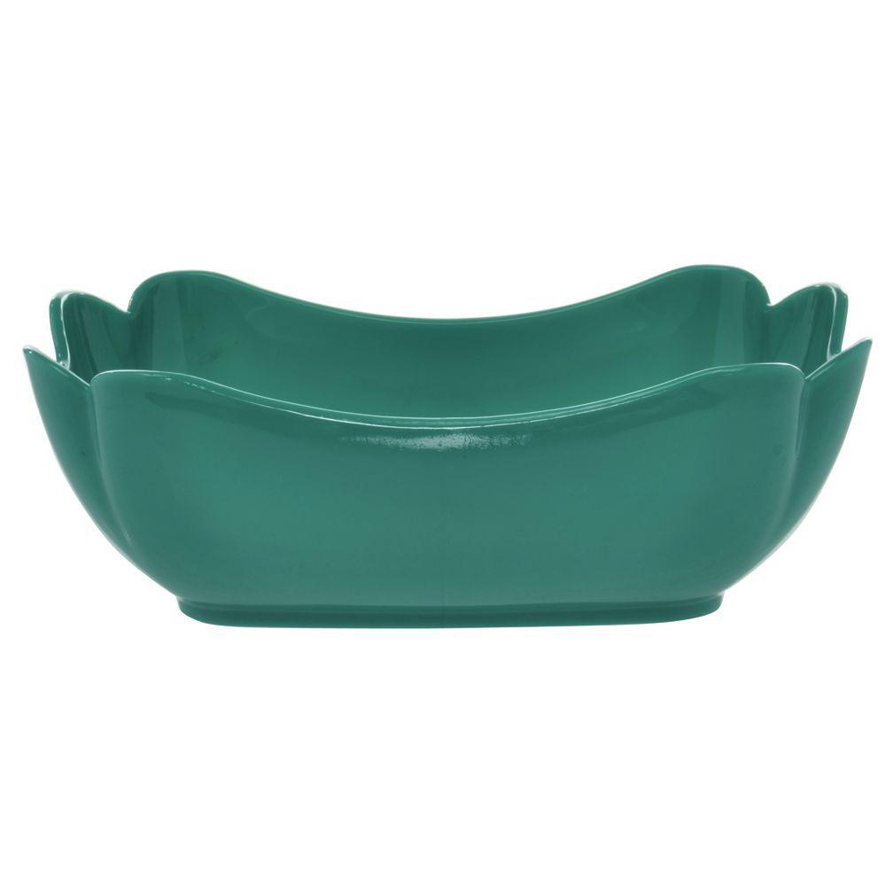 "Glossy Tulip Crock/ Square Bowl in Teal SAN Plastic 10""L x 6""W x 3 1/2""H"