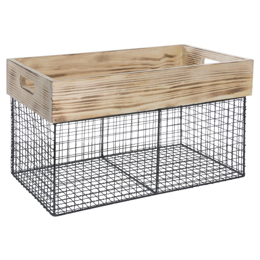 BASKET, WOOD + IRON WIRE, LARGE, RECT