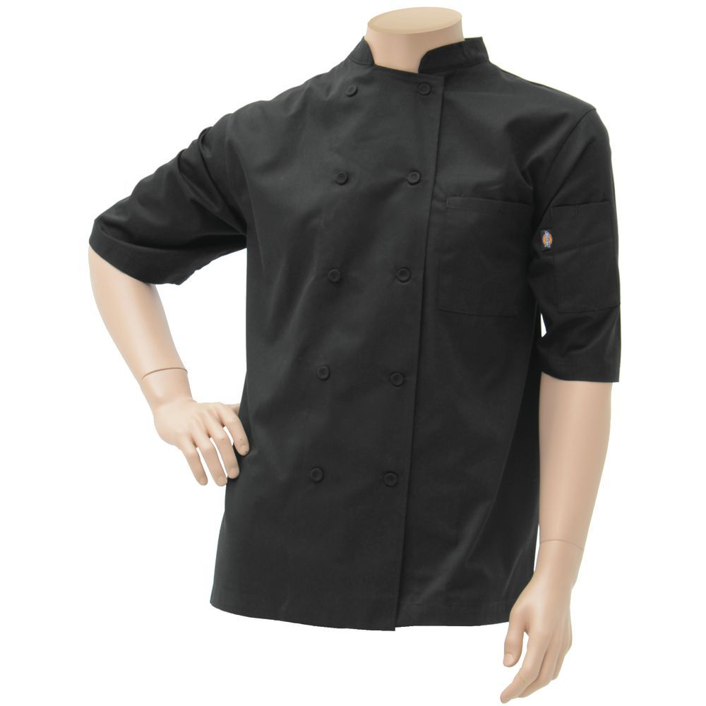 CHEF COAT, COOL BREEZE, BLACK, 3XL