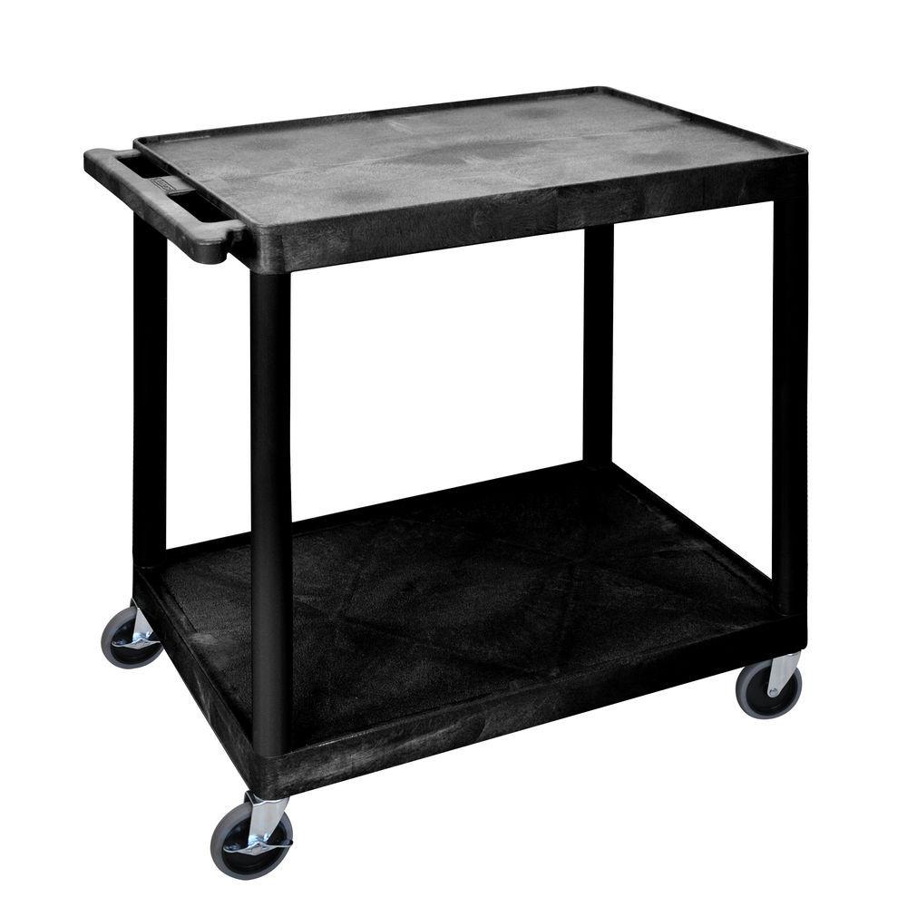 """Plastic Cart2 Shelf 24""""L x 18""""W x 33""""H Black"""