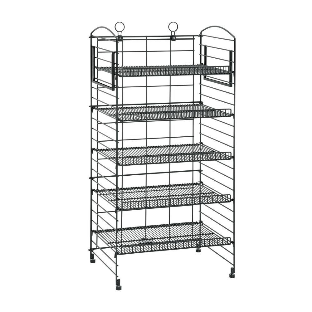 Black Wire 5-Shelf Bakery Fold-Up Rack - 22L x 14W x 44H