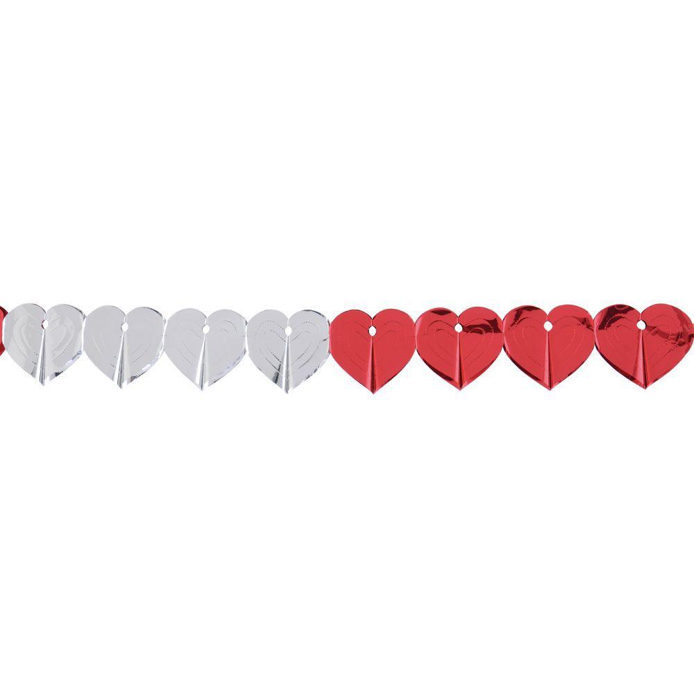 Decoration Garland Hearts Metallic Red/Silver 12'L Foil