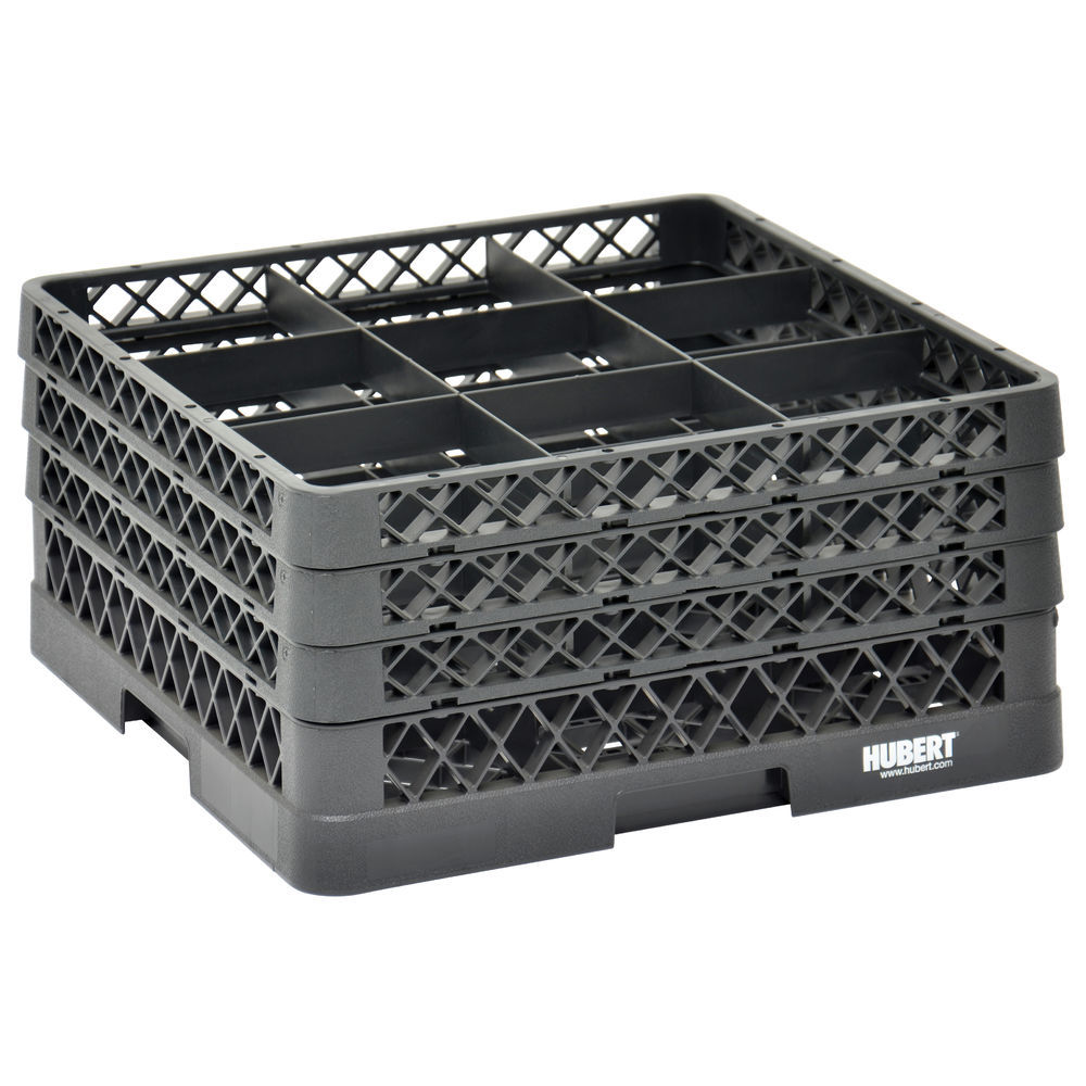 RACK, 9 COMPARTMENT, 3 EXTENDERS, BLACK