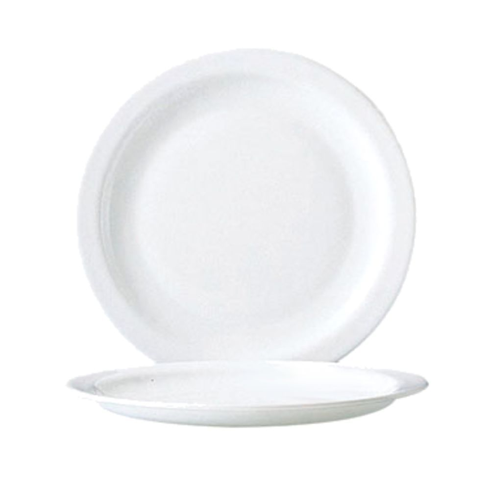 Arcoroc Opal Round Narrow Rim Restaurant White Glass Lunch Plate - 9-1/4
