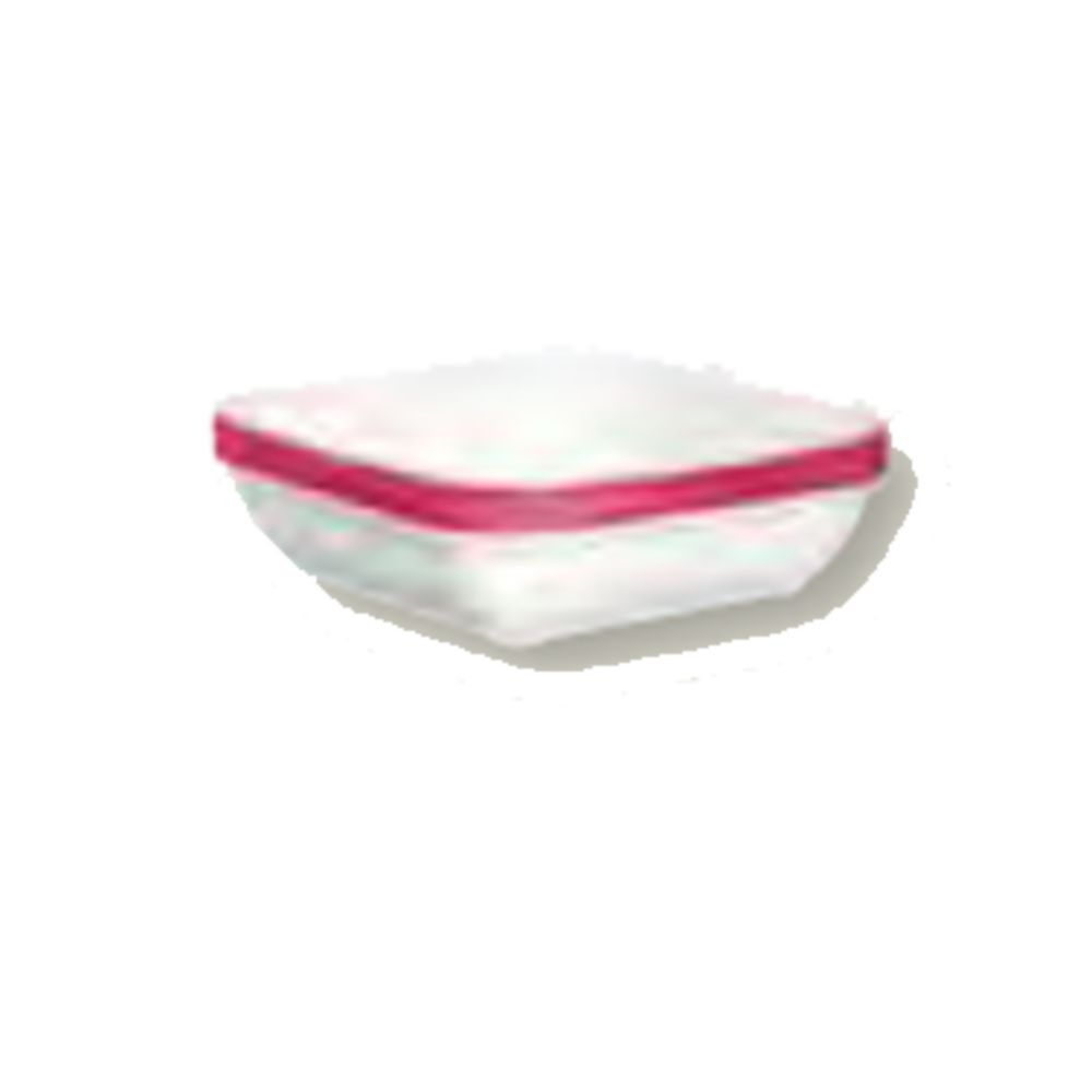 Arcoroc Opal Brush Red Square White With Red Rim Glass Dish - 4-1/4