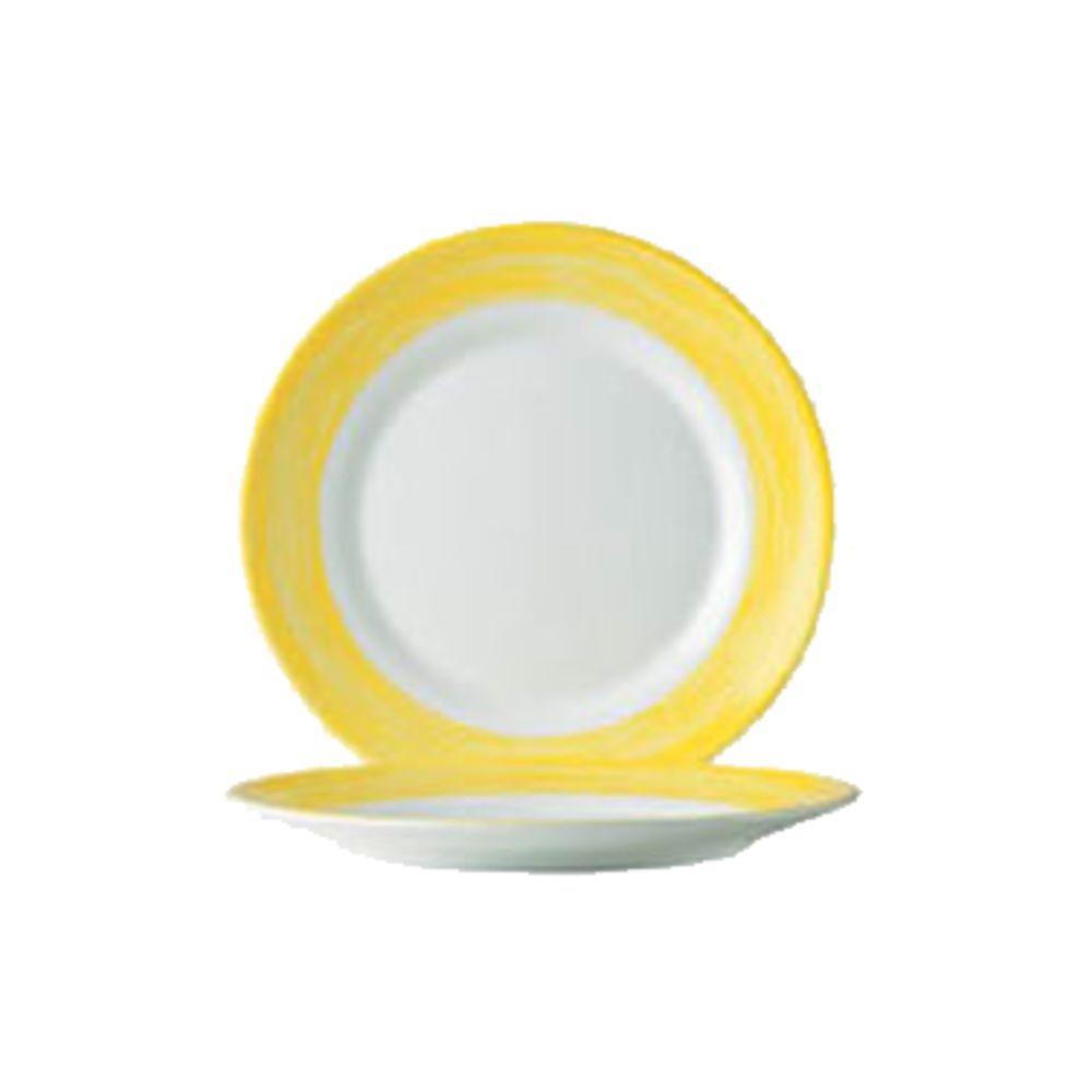 Arcoroc Opal Brush Yellow Round White With Yellow Rim Glass Dinner Plate -  10