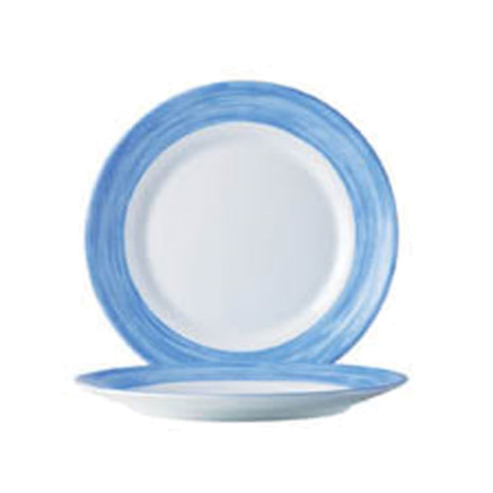 Arcoroc Opal Brush Blue Round White With Light Blue Rim Glass Dinner Plate  - 10