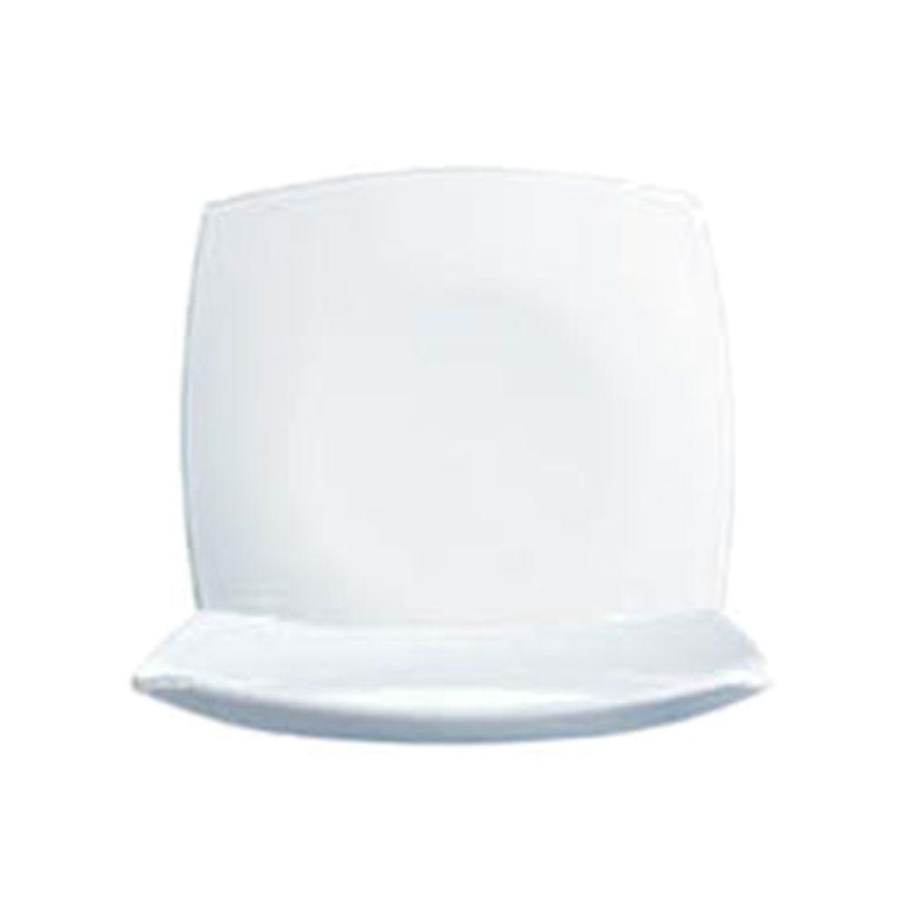 Arcoroc Opal Delice Square White Glass Dinner Plate - 10-1/2