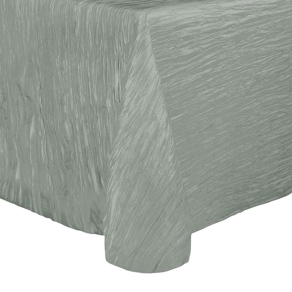 Visual Textile Crinkle Taffeta Delano 70 X 104 Inch Oval Tablecloth Platinum Dark Grey